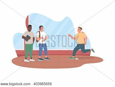 Bad Habit Of Running Late 2d Vector Web Banner, Poster. Guy In Hurry. Men Waiting For Friend Flat Ch