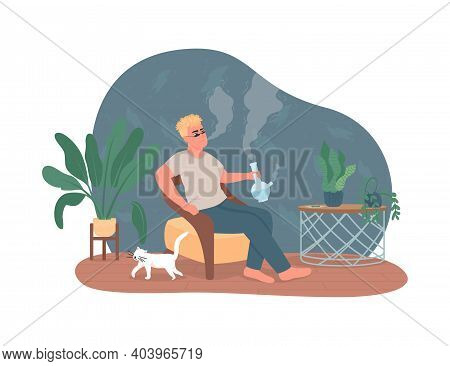 Smoking Cannabis Bong 2d Vector Web Banner, Poster. Guy Inhale From Bowl. Man With Pipe Flat Charact
