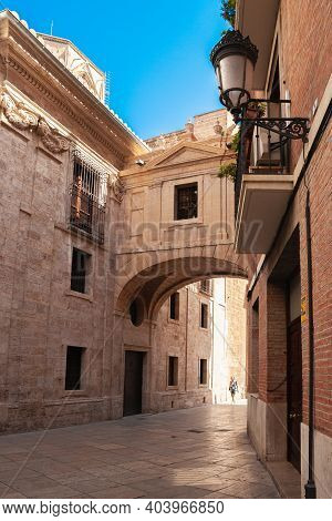 Valencia, Spain - 07-21-2019: Historical Street In Valencia, Spain Captured On Sunny Day During The