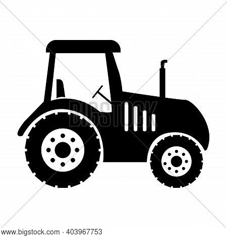Tractor Icon On White Background. Farm Tractor Sign. Flat Style. Black Tractor Symbol.