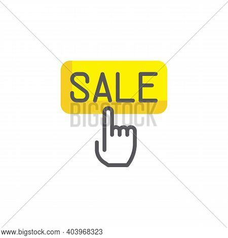 Hand Slick Sale Line Icon. Linear Style Sign For Mobile Concept And Web Design. Click On Sale Outlin