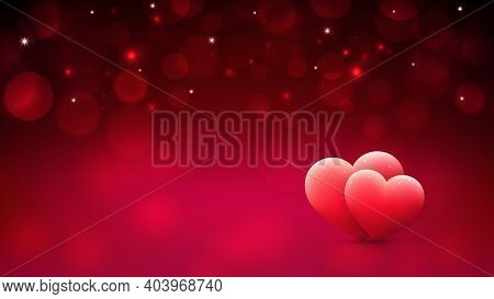 Red Bokeh Background For Valentines Day Greeting Card With Pink Hearts. Happy Valentine Day Banner.