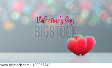 Valentines Day Card. Red Hearts On Pastel Background, Multicolored Bokeh. Happy Valentine Day Banner