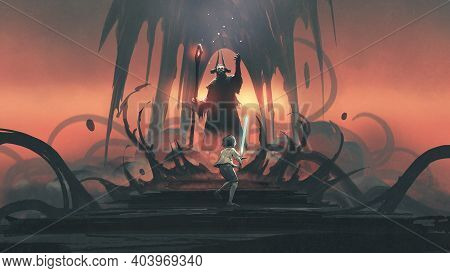 Child With A Glowing Sword Against A Wizard, Digital Art Style, Illustration Painting