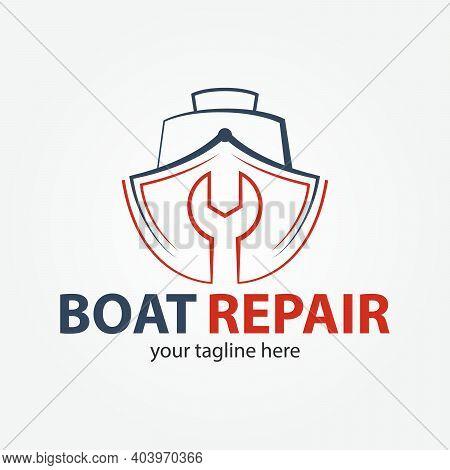 Boat Repair, Maintenance, Refurbishment Logo. Boat And Fix Icon.