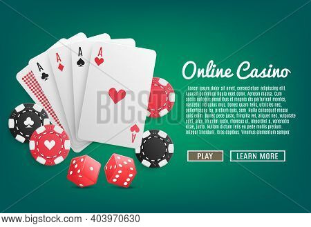 Online Casino Realistic Web Page Design With Cards Poker Chips Dices Play And Learn More Buttons Vec