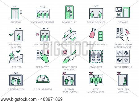 Elevator Line Icons. Vector Illustration Included Icon - Service Lift, Parking, Disabled Cabin, Secu