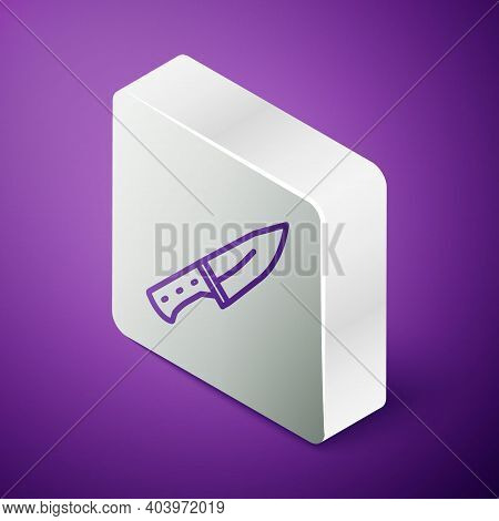Isometric Line Meat Chopper Icon Isolated On Purple Background. Butcher Knife. Kitchen Knife For Mea