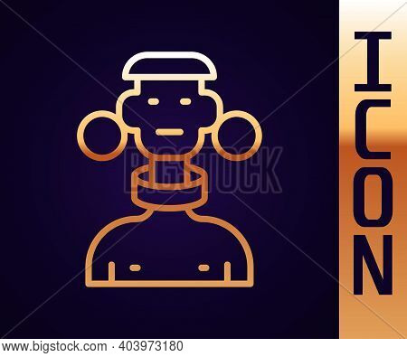 Gold Line African Tribe Male Icon Isolated On Black Background. Vector