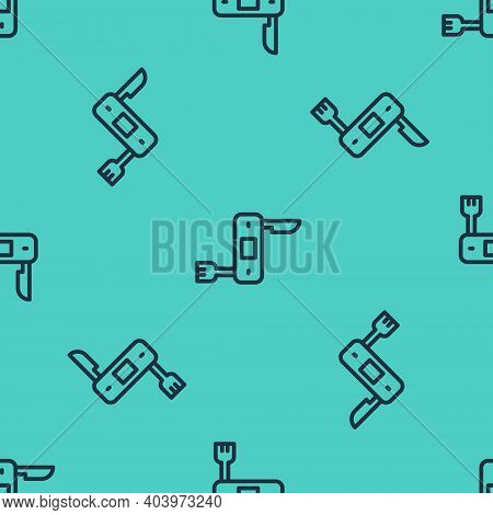 Black Line Swiss Army Knife Icon Isolated Seamless Pattern On Green Background. Multi-tool, Multipur