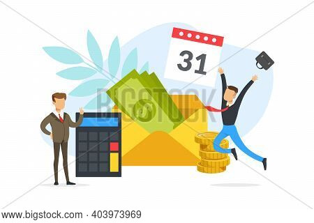 Salary Payment Date Or Payday Concept, Happy Young Man Receiving Money Or Salary Cartoon Vector Illu