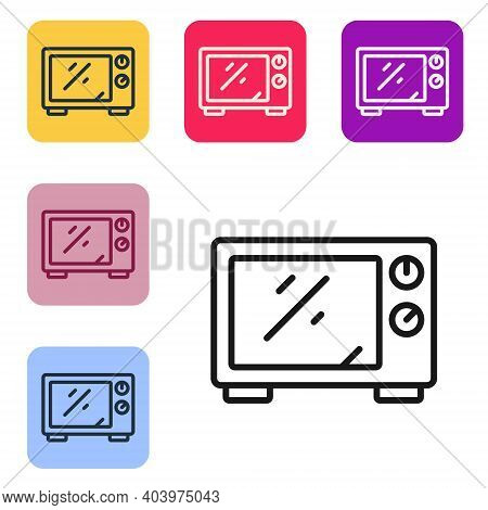 Black Line Microwave Oven Icon Isolated On White Background. Home Appliances Icon. Set Icons In Colo