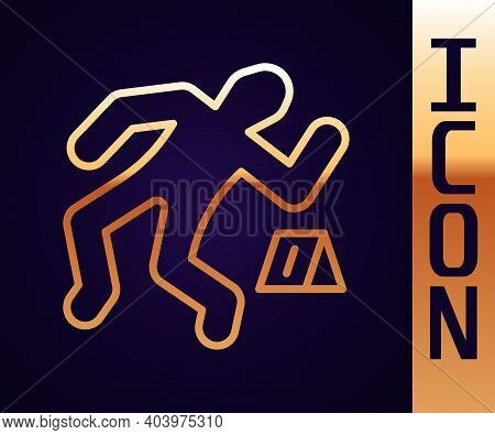 Gold Line Crime Scene Icon Isolated On Black Background. Vector