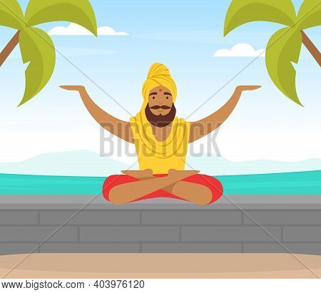 Hindu In Turban Soaring In The Air And Meditating In Yoga Lotus Position Vector Illustration