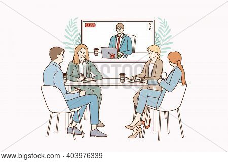 Video Conference And Teamwork Concept. Positive People Colleagues Teammates Sitting In Office And Ha
