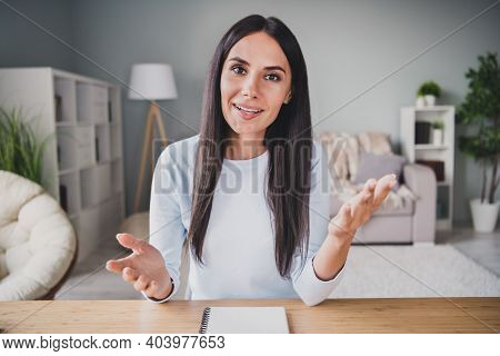 Photo Of Charming Young Attractive Woman Talk Web Camera Work From Home Business Meeting Indoors In
