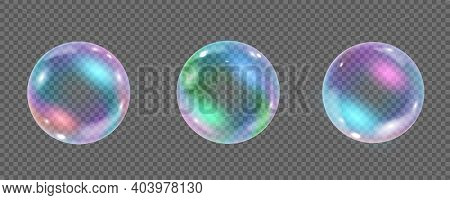 Rainbow Colorful Underwater Bubble Isolated On Transparent Background. Realistic Vector Illustration