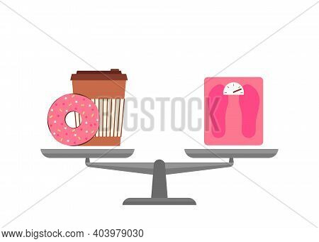 Bowls Of Scales Choice Fast Food Or Diet, Health. Donut Cake With Coffee Or Weight In Comparison. Li
