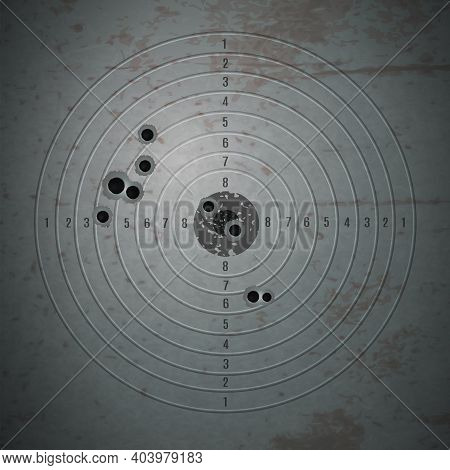 Bullet Shot Holes Target Composition With Realistic Image Of Bulled Riddled Training Target Filled W