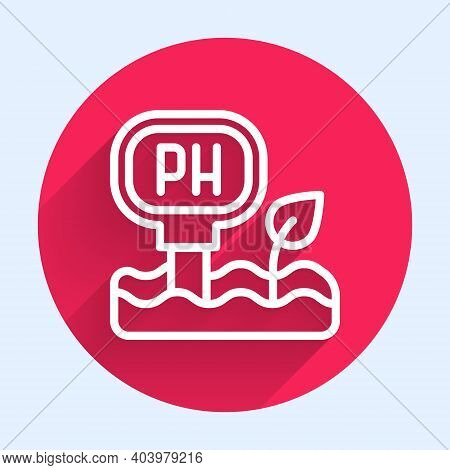 White Line Soil Ph Testing Icon Isolated With Long Shadow. Ph Earth Test. Red Circle Button. Vector