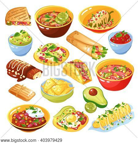Traditional Mexican Food Dishes Collection With Tacos Quesadilla Tortilla Chips Avocado Salsa Isolat
