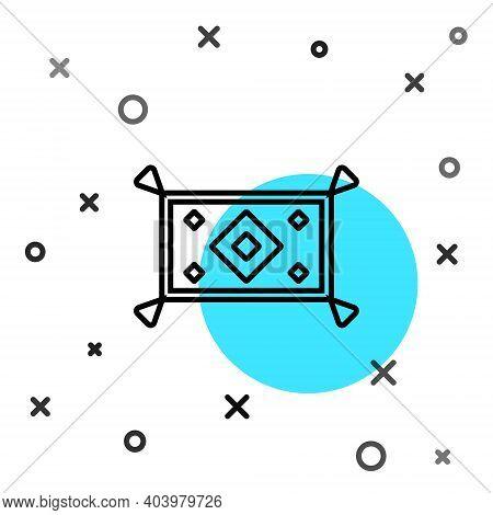 Black Line Magic Carpet Icon Isolated On White Background. Random Dynamic Shapes. Vector