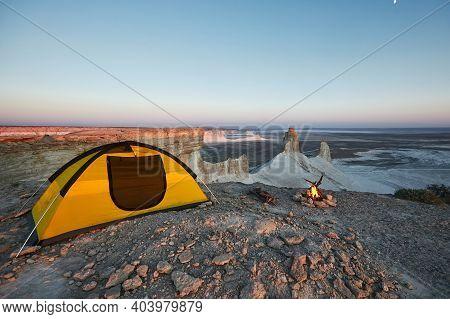 Camping With Fire At Ustyurt Plateau. Mangistau, Kazakhstan.
