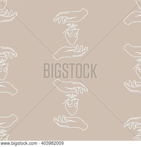 Vector Heart On Hand Lineart On Dusty Beige Seamless Pattern Background. Perfect For Fabric, Wallpap