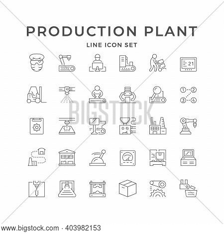 Set Line Icons Of Production Plant Isolated On White. Factory Worker, Forklift, Robotic Painting, Co