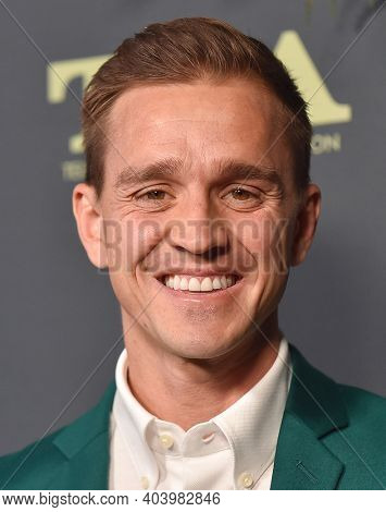 LOS ANGELES - FEB 06:  American Soccer Player Stuart Holden arrives for FOX Winter TCA 2019 on February 06, 2019 in Los Angeles, CA