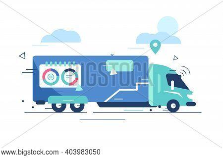 Autonomous Truck Drive On Road Vector Illustration. Unmanned Vehicles. Artificial Intelligence Contr