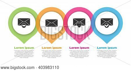 Set Delete Envelope, Envelope, Envelope With Valentine Heart And Envelope And Check Mark. Business I