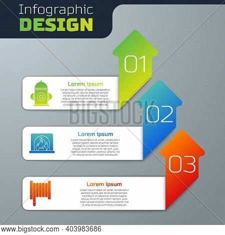 Set Fire Hydrant, Interior Fireplace And Fire Hose Reel. Business Infographic Template. Vector