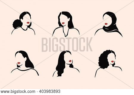 Abstract Monochrome Females No Face With Red Lips Portraits In Linear Style. Strong Women Of Differe
