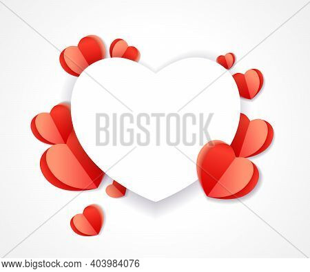 Valentines Day Heart Paper Background With Cut Red Paper Hearts. Origami Shape Heart Isolated On Whi