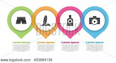 Set Swimming Trunks, Surfboard, Sunscreen Spray Bottle And Photo Camera. Business Infographic Templa