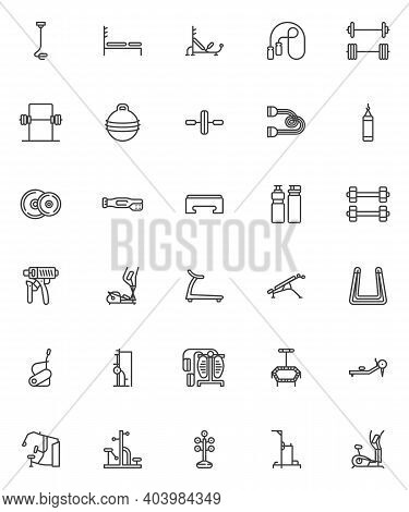 Gym Equipment Line Icons Set. Linear Style Symbols Collection, Outline Signs Pack. Fitness, Sports E