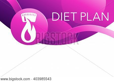 Diet Plan Top Of Page Decoration. Low Cal And Healthy Nutrition 3d Icon In Abstract Purple Style - I