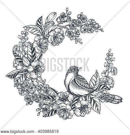 Vector Wreath Of Doodle Hand Drawn Magnolia, Sakura Flowers And Bird. Beautiful Romantic Elegant Flo