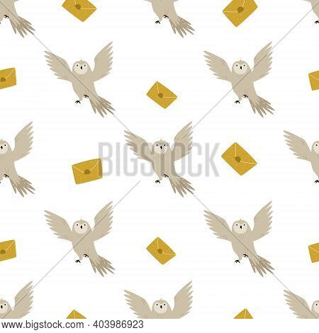Seamless Pattern With Cute Flying Owls And Mails