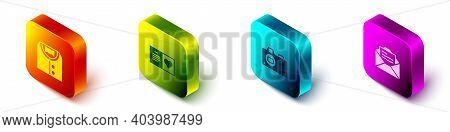 Set Isometric Suit, Valentines Day Party Flyer, Photo Camera And Greeting Card Icon. Vector
