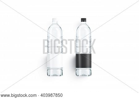 Blank Transparent Plastic Bottle With Black And White Label Mockup, 3d Rendering. Empty Minerale Wat