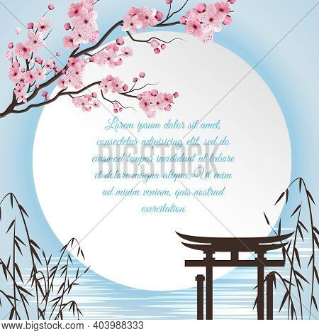 Sakura Cartoon Concept With Japanese Motifs And White Circle With Place For Poem Vector Illustration