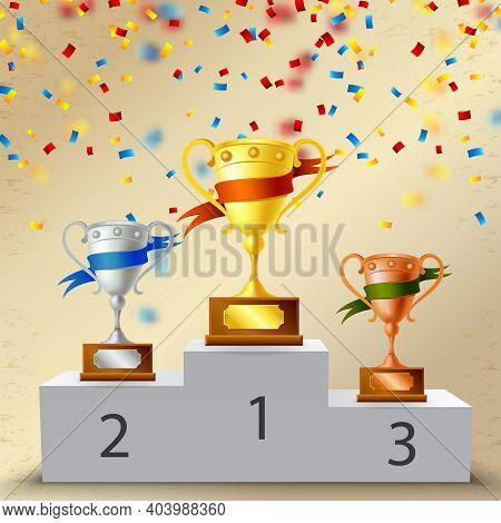 Realistic Pedestal With Trophies, Metal Goblets With Color Ribbons Composition On Light Background W