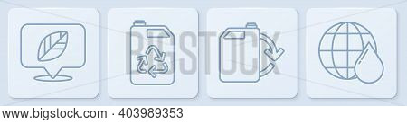 Set Line Location With Leaf, Eco Fuel Canister, Eco Fuel Canister And Earth Planet In Water Drop. Wh
