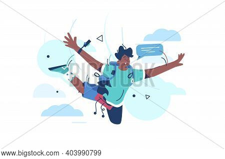 Extreme Skydiving Activities Vector Illustration. Skydiver Flying In Clouds And Taking Selfie Flat S