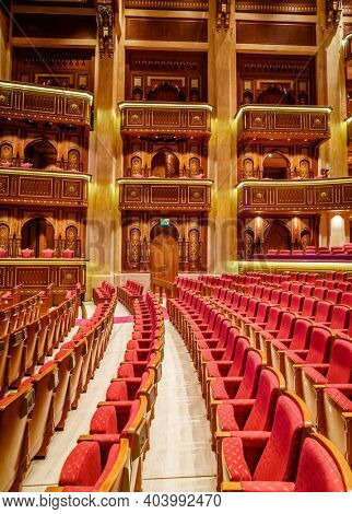 Muscat, Oman, December 3, 2016: Interior view of Royal Opera House  in Muscat, Oman