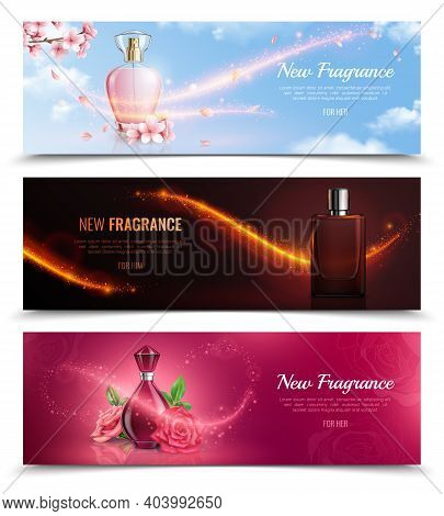 New Fragrance Horizontal Cosmetics Banners With Bottles Of Perfume And Effect Of Magic Flying Glitte
