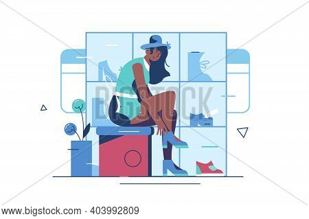 Girl Trying On Shoes In Boutique Vector Illustration. Woman Shopping In Shoe Store Flat Style Concep