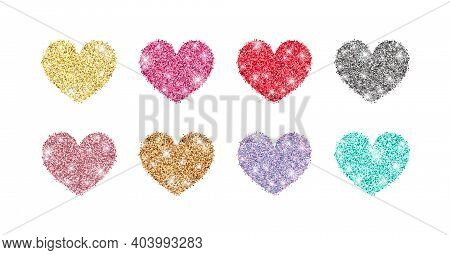 Decorative Glitter Shiny Hearts Set Isolated On White. Rose Gold, Pink, Golden, Silver, Red, Mint, H